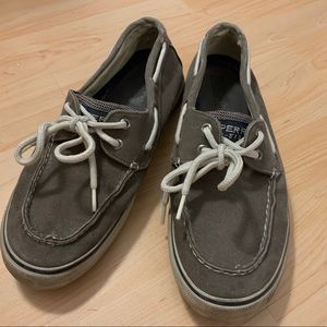 Grey sperry topsider canvas shoes